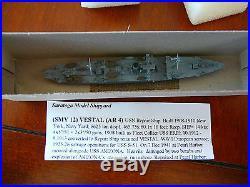 1/1250 SARATOGA MODEL SHIP YARD USS VESTAL, AR-4, USN REPAIR SHIP, #SMY 12, MINT
