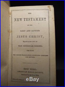 1852 N. T. WithBook of Psalms. Legendary sea Captain signed American Bible Society
