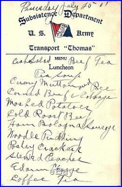 1901 U. S. Army Transport Ship Thomas Officers Lunch Menu Span-American War &B