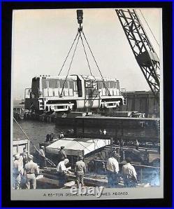 1940s Edw STEICHEN-type Silver PHOTOGRAPH -LOADING 65 Ton DIESEL onto NAVY SHIP