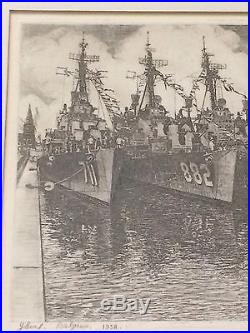 1958 Listed Belgium Artist J. B DeBudt Drypioint Etching BELGIUM NAVY SHIPS