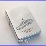 1959 ZIPPO USS TRATHEN DD 530 LIGHTER COLOR ENAMELED ON BOTH SIDES GREYHOUND 19