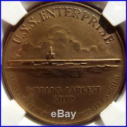 1960 USS Enterprise Christening Medal, HK-578, MS66 NGC, Virginia Token, Carrier