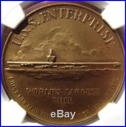 1960 USS Enterprise Christening Medal HK578 MS66 NGC, Virginia Token