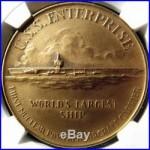1960 USS Enterprise Christening Medal HK578 MS67 NGC, Virginia Token