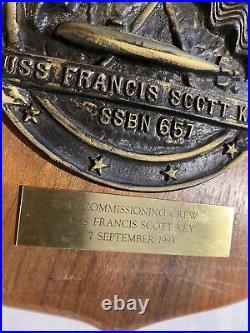 1993 Plaque Ssbn 657 Uss Francis Scott Key Submarine Decommissioning Crew 1993