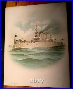 ANTIQUE LOT 10 US NAVY BATTLESHIP ART PRINTS 1898 COLOR LITHO KOERNER & HAYES Co