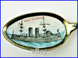 ANTIQUE USS NEW ORLEANS, LOUISIANA STERLING SILVER & ENAMEL SOUVENIR SPOON 23GM