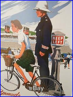 Adolph Treidler Queen Of Bermuda Framed Travel Porcelain Advertising Sign