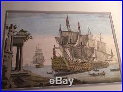 Antique 1721 Maritime artist THOMAS BASTON engraving of English ship ROYAL ANNE