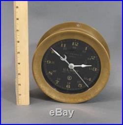 Antique CHELSEA CLOCK U. S. Navy Boston Ships Deck Clock Brass Case Black Face