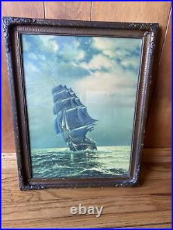 Antique Old Ironsides USS Constitution Framed Lithograph