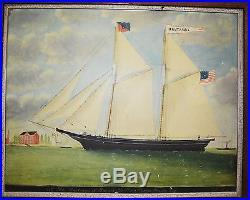 Antique Print Schooner Montana J. H. Kane Naval Navy British American Colonial
