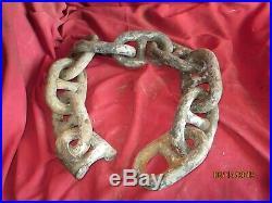 Antique Rusty 6 3/4 Stud Link Anchor Chain Marine Ship Nautical Decor 45 sectn