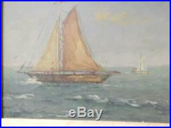 Antique Sail Boats Sgnd Oil Painting On Board Vintage Nautical Marine Old Master
