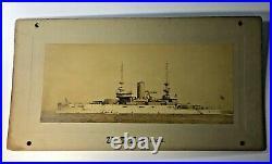 Antique Uss Illinois (bb-7) Battleship Albumen Photo