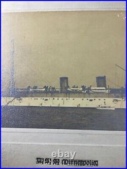 Antique Uss Minneapolis (c-13) United States Battleship Albumen Photo