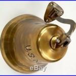 Antque Brass US NAVY Hanging Bell. Yk