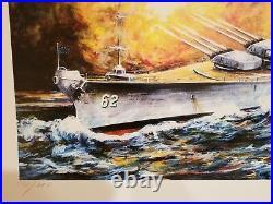 Battleship New Jersey Action Serigraph Print By International Artist Kamil Kubik