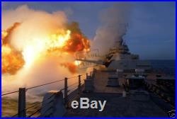 Battleship USS MISSOURI BB-63 fires a Mark 7 16-inch /50-caliber gun 8X12 PHOTO