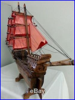 Big Nice 42 Hand Carved Wooden Sail Ship Sailing Heavy Phoenix bird handmade