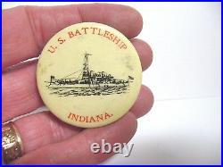 CELLULOID U. S. BATTLESHIP INDIANA PIN PINBACK CHESHIRE MFG. 1 1/2 vintage