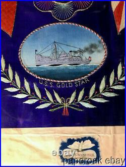 Ca1920's U. S. S. Gold Star Japanese Embroidery Of Asian Cruise With Photo