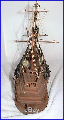 Civil War Battleship War Ship Wood Model Assembled 24 X 21 One of a Kind