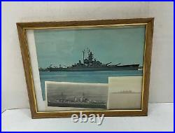 Cruiser New Orleans Navy Ship Three Photos Colored Black and White FRAMED 8x10