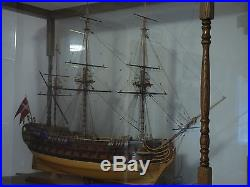 Danish Navy Man of War Large Wooden Handcrafted Ship Model in Display Case