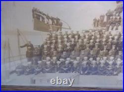 FRAMED USS ALABAMA (BB-8) BATTLESHIP SUPERSTRUCTURE & CREW RARE! Orig. 20X11