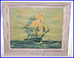 Framed 1927 Lithograph Signed Gordon Grant U. S. S. Constitution Old Ironsides