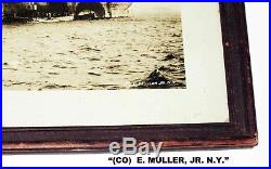 Framed USS LEVIATHAN Steam Ship in CAMOUFLAGE / WW1 by E MULLER Jr-11x14 PHOTO