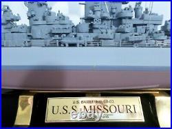 Franklin Mint Battleship U. S. S. Missouri BB-63 in Glass and Wood Display Case