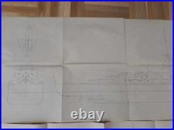 Germany War Kriegsmarine Cruiser Prinz Eugen Lot Two Plan Hand Made In Pencil