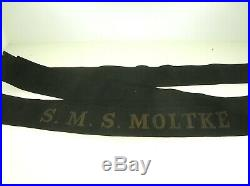 Germany Ww1 S. M. S. Moltke Authentic Seaman's Hat Tally Nice Condition B. Offer