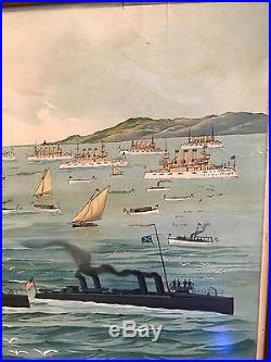 Great White Fleet Lithograph The Pride Of The Pacific In San Francisco Harbor