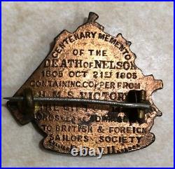 H. M. S. Victory Horatio Nelson Commem. Pin Made With Original Copper Dated 1905