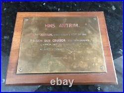 HMS Antrim Gun Cruiser Warship Royal Navy Bronze Plaque Vintage RARE