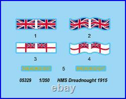 HMS DREADNOUGHT 1915 1/350 ship Trumpeter model kit 05329