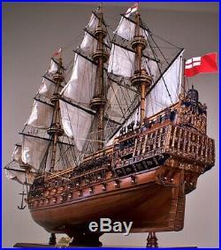 HMS Sovereign of the Seas 1637 Wooden Tall Ship Model 42Lg. Fully Built Warship