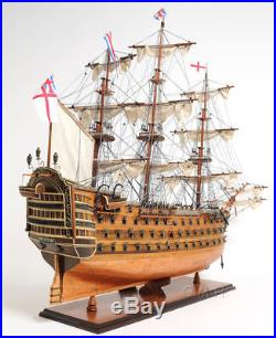 HMS Victory Copper Clad Bottom Wooden 38.5 Tall Ship Model Sailboat