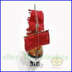 Handmade WOOD MODEL(22.5length)red Sailing Boat Tall Ship Sailer Nautical decor