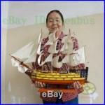 Handmade WOOD MODEL (23.6length) Sailing Boat Tall Ship Sailer Nautical decor