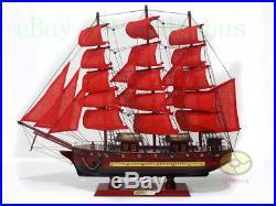 Handmade WOOD MODEL(23.6length)red Sailing Boat Tall Ship Sailer Nautical decor