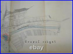 Hungary Danube Maritime Antique Color Map 1000 X 670 MM 1931 Very Rare