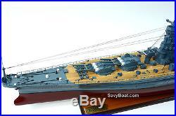 Japanese Navy Ship Yamato Handmade Wooden Battleship Model 48