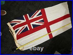 Large 72 Royal Navy / Royal Yacht White Ensign British Flag, Naval Ship 1950s