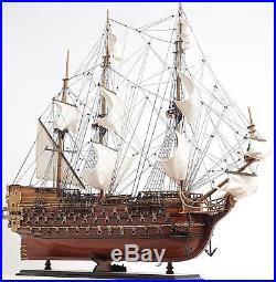 Model Ship St Espirit Boats Sailing Linen Wood Base Wooden Western Red Ce