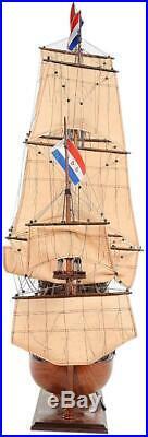 Model Ship Traditional Antique Friesland Boats Sailing Wood Base Western